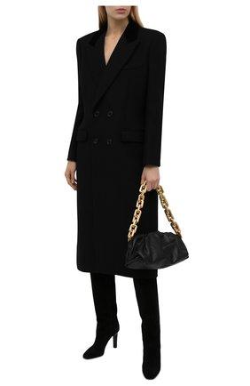 Женские замшевые сапоги SAINT LAURENT черного цвета, арт. 672320/27D00 | Фото 2 (Материал внутренний: Натуральная кожа; Каблук тип: Шпилька; Высота голенища: Высокие, Средние; Каблук высота: Высокий; Подошва: Плоская)