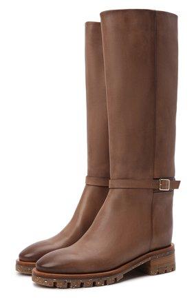 Женские кожаные сапоги SANTONI коричневого цвета, арт. WSHR59492R0CFENAM24   Фото 1 (Каблук высота: Низкий; Подошва: Платформа; Материал внутренний: Натуральная кожа; Каблук тип: Устойчивый; Высота голенища: Высокие)