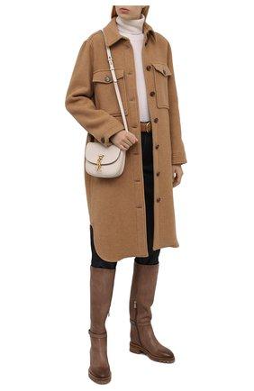 Женские кожаные сапоги SANTONI коричневого цвета, арт. WSHR59492R0CFENAM24   Фото 2 (Каблук высота: Низкий; Подошва: Платформа; Материал внутренний: Натуральная кожа; Каблук тип: Устойчивый; Высота голенища: Высокие)