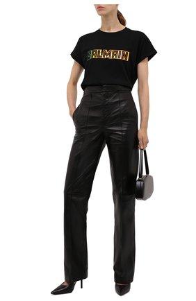 Женская хлопковая футболка BALMAIN черного цвета, арт. WF0EF010/B098   Фото 2 (Рукава: Короткие; Длина (для топов): Стандартные; Материал внешний: Хлопок; Стили: Спорт-шик; Принт: С принтом; Женское Кросс-КТ: Футболка-одежда)