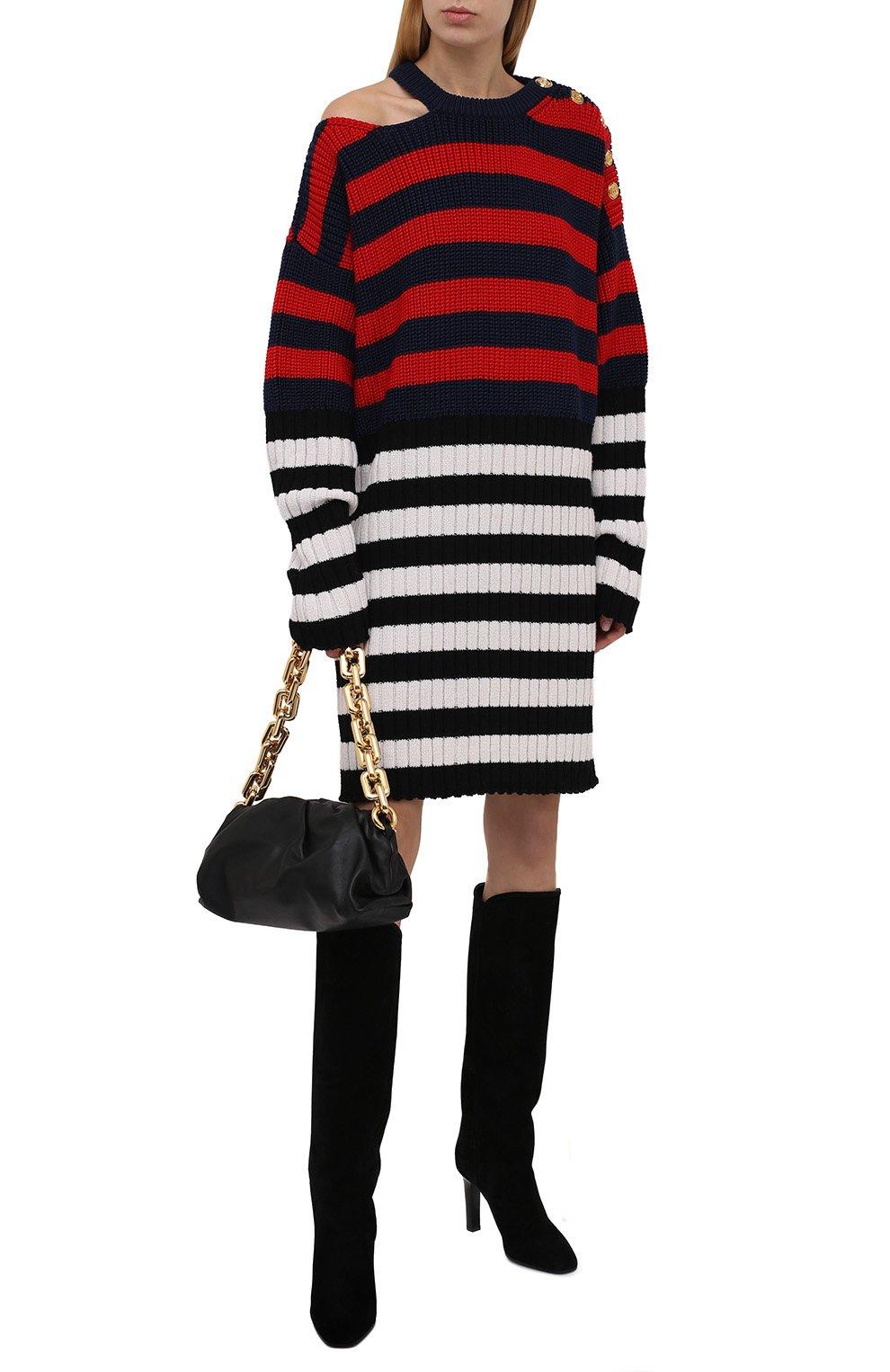 Женское платье BALMAIN разноцветного цвета, арт. WF0RF020/K339   Фото 2 (Материал внешний: Шерсть, Лиоцелл; Рукава: Длинные; Стили: Гламурный; Длина Ж (юбки, платья, шорты): Мини; Случай: Повседневный; Кросс-КТ: Трикотаж; Женское Кросс-КТ: Платье-одежда)