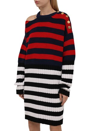 Женское платье BALMAIN разноцветного цвета, арт. WF0RF020/K339   Фото 3 (Материал внешний: Шерсть, Лиоцелл; Рукава: Длинные; Стили: Гламурный; Длина Ж (юбки, платья, шорты): Мини; Случай: Повседневный; Кросс-КТ: Трикотаж; Женское Кросс-КТ: Платье-одежда)