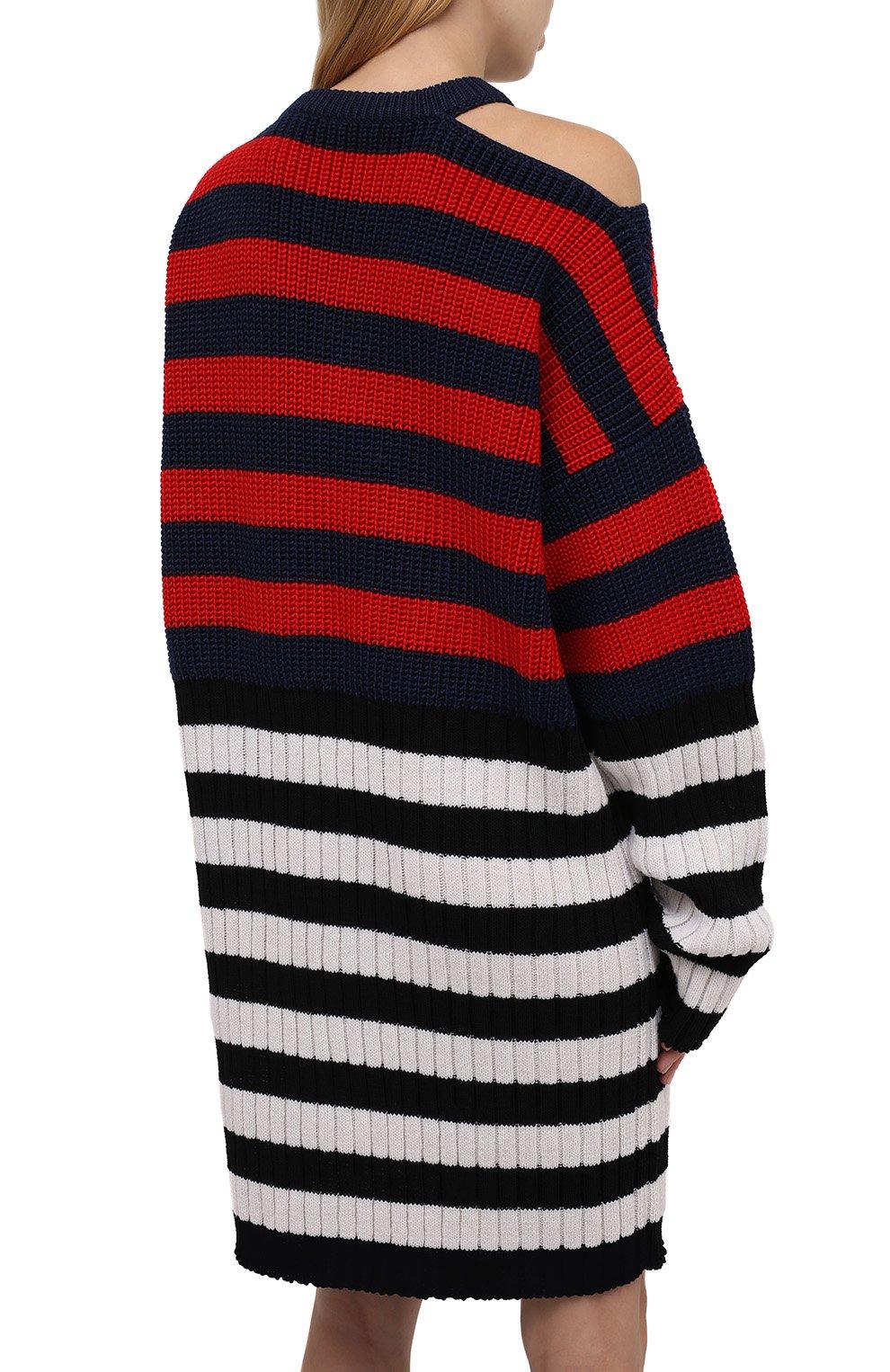 Женское платье BALMAIN разноцветного цвета, арт. WF0RF020/K339   Фото 4 (Материал внешний: Шерсть, Лиоцелл; Рукава: Длинные; Стили: Гламурный; Длина Ж (юбки, платья, шорты): Мини; Случай: Повседневный; Кросс-КТ: Трикотаж; Женское Кросс-КТ: Платье-одежда)
