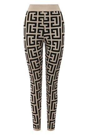 Женские леггинсы из вискозы balmain x rossignol BALMAIN черно-белого цвета, арт. WF2PD005/K338   Фото 1 (Длина (брюки, джинсы): Стандартные; Материал внешний: Вискоза; Стили: Гламурный; Кросс-КТ: Трикотаж; Женское Кросс-КТ: Леггинсы-одежда)