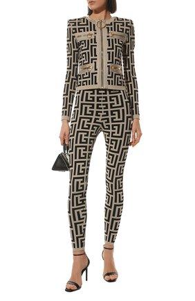 Женские леггинсы из вискозы balmain x rossignol BALMAIN черно-белого цвета, арт. WF2PD005/K338   Фото 2 (Длина (брюки, джинсы): Стандартные; Материал внешний: Вискоза; Стили: Гламурный; Кросс-КТ: Трикотаж; Женское Кросс-КТ: Леггинсы-одежда)