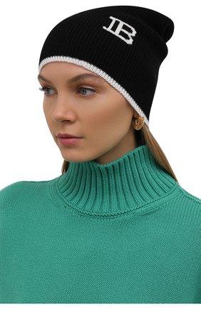 Женская шапка из шерсти и кашемира BALMAIN черно-белого цвета, арт. WH0XC000/K065   Фото 2 (Материал: Кашемир, Шерсть)