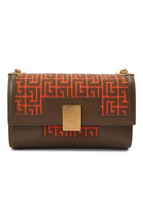 Женская сумка 1945 medium BALMAIN оранжевого цвета, арт. WN0BK652/TJGH | Фото 1 (Ремень/цепочка: На ремешке; Размер: medium; Материал: Текстиль; Сумки-технические: Сумки через плечо)