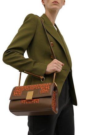 Женская сумка 1945 medium BALMAIN оранжевого цвета, арт. WN0BK652/TJGH | Фото 2 (Ремень/цепочка: На ремешке; Размер: medium; Материал: Текстиль; Сумки-технические: Сумки через плечо)