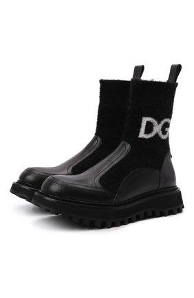 Женские комбинированные ботинки bernini DOLCE & GABBANA черного цвета, арт. CT0835/AQ589 | Фото 1 (Материал внешний: Текстиль; Материал внутренний: Натуральная кожа; Подошва: Платформа; Каблук тип: Устойчивый; Каблук высота: Низкий)