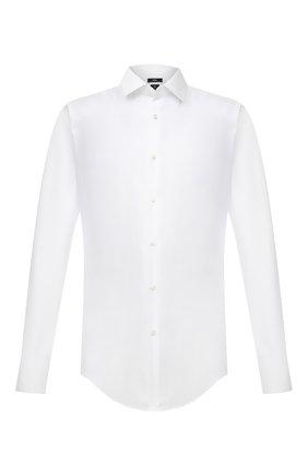 Мужская хлопковая сорочка BOSS белого цвета, арт. 50460821 | Фото 1 (Длина (для топов): Стандартные; Рукава: Длинные; Материал внешний: Хлопок; Случай: Формальный; Стили: Классический; Принт: Однотонные; Воротник: Кент; Манжеты: На пуговицах; Рубашки М: Slim Fit)