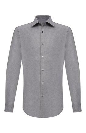 Мужская хлопковая рубашка BOSS серого цвета, арт. 50460111 | Фото 1 (Материал внешний: Хлопок; Случай: Повседневный; Рукава: Длинные; Стили: Кэжуэл; Принт: Однотонные; Воротник: Кент; Манжеты: На пуговицах; Рубашки М: Slim Fit; Длина (для топов): Стандартные)