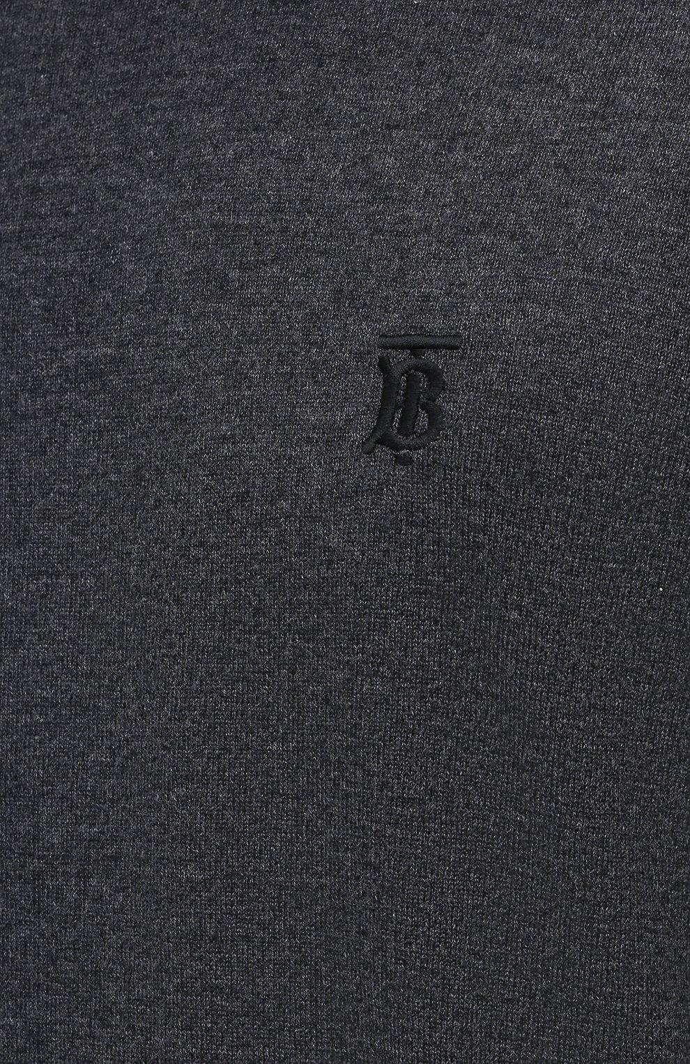 Мужской кашемировый джемпер BURBERRY серого цвета, арт. 8044320 | Фото 5 (Мужское Кросс-КТ: Джемперы; Материал внешний: Шерсть, Кашемир; Рукава: Длинные; Принт: Без принта; Длина (для топов): Стандартные; Вырез: Круглый; Стили: Кэжуэл)