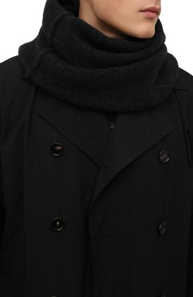 Мужской шерстяной шарф-снуд ISABEL BENENATO темно-серого цвета, арт. UK15F21 | Фото 2 (Материал: Шерсть; Кросс-КТ: шерсть)