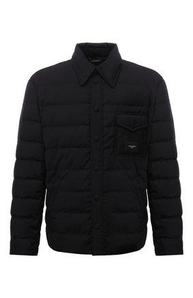 Мужская пуховая куртка DOLCE & GABBANA черного цвета, арт. G9VD6T/FUSNU | Фото 1 (Материал утеплителя: Пух и перо; Рукава: Длинные; Материал подклада: Синтетический материал; Материал внешний: Синтетический материал; Кросс-КТ: Куртка; Мужское Кросс-КТ: пуховик-короткий; Длина (верхняя одежда): Короткие; Стили: Кэжуэл)