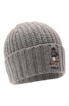 Мужская шапка POLO RALPH LAUREN серого цвета, арт. 449853941 | Фото 1 (Материал: Текстиль, Синтетический материал; Кросс-КТ: Трикотаж)