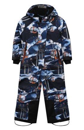 Детский утепленный комбинезон hux MOLO синего цвета, арт. 5W21N203   Фото 1 (Материал внешний: Синтетический материал; Рукава: Длинные; Девочки Кросс-КТ: Комбинезон-верхняя одежда)