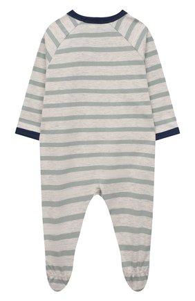 Детский хлопковый комбинезон SANETTA зеленого цвета, арт. 221666 | Фото 2 (Рукава: Длинные; Материал внешний: Хлопок)