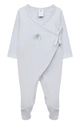 Детский хлопковый комбинезон SANETTA светло-голубого цвета, арт. 221676 | Фото 1 (Рукава: Длинные; Материал внешний: Хлопок)
