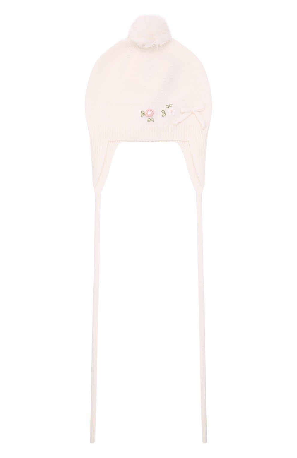 Детского шерстяная шапка BABY T белого цвета, арт. 21AI114CUP | Фото 1 (Материал: Шерсть)