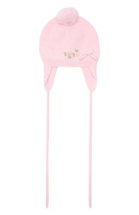 Детского шерстяная шапка BABY T розового цвета, арт. 21AI114CUP | Фото 1 (Материал: Шерсть)