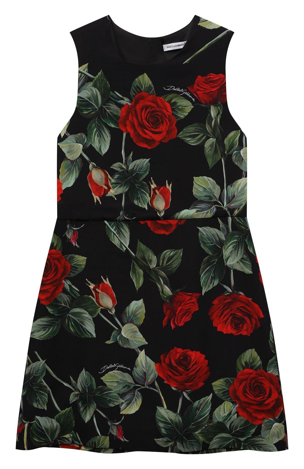 Детское платье из вискозы DOLCE & GABBANA черного цвета, арт. L52DX5/FS8CR/8-14 | Фото 1 (Рукава: Короткие; Случай: Повседневный; Материал внешний: Вискоза; Девочки Кросс-КТ: Платье-одежда; Материал подклада: Вискоза)