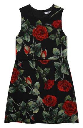 Детское платье из вискозы DOLCE & GABBANA черного цвета, арт. L52DX5/FS8CR/8-14 | Фото 1 (Материал подклада: Вискоза; Рукава: Короткие; Материал внешний: Вискоза; Случай: Повседневный; Девочки Кросс-КТ: Платье-одежда)