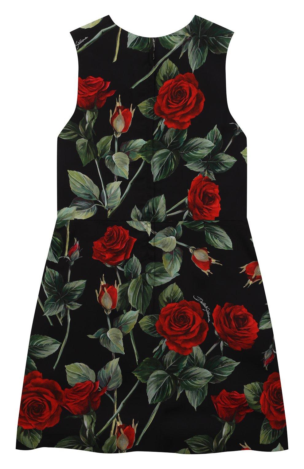 Детское платье из вискозы DOLCE & GABBANA черного цвета, арт. L52DX5/FS8CR/8-14 | Фото 2 (Рукава: Короткие; Случай: Повседневный; Материал внешний: Вискоза; Девочки Кросс-КТ: Платье-одежда; Материал подклада: Вискоза)