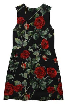 Детское платье из вискозы DOLCE & GABBANA черного цвета, арт. L52DX5/FS8CR/8-14 | Фото 2 (Материал подклада: Вискоза; Рукава: Короткие; Материал внешний: Вискоза; Случай: Повседневный; Девочки Кросс-КТ: Платье-одежда)