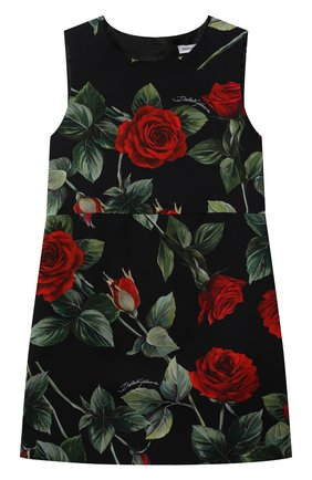 Детское платье из вискозы DOLCE & GABBANA черного цвета, арт. L52DX5/FS8CR/2-6 | Фото 1 (Материал подклада: Вискоза; Материал внешний: Вискоза; Рукава: Короткие; Случай: Повседневный; Девочки Кросс-КТ: Платье-одежда)
