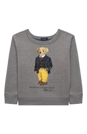Детский хлопковый свитшот POLO RALPH LAUREN серого цвета, арт. 321853796 | Фото 1 (Материал внешний: Синтетический материал, Хлопок; Мальчики Кросс-КТ: Толстовка-одежда; Рукава: Длинные)