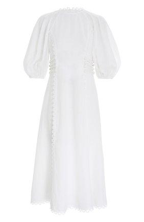 Женское льняное платье ZIMMERMANN белого цвета, арт. 2382DROS/   Фото 1 (Материал внешний: Лен; Стили: Бохо; Женское Кросс-КТ: Платье-одежда, Платье-пляжная одежда; Случай: Повседневный)