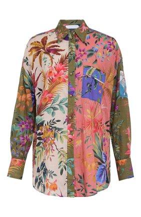Женская хлопковая рубашка ZIMMERMANN разноцветного цвета, арт. 2483TTRO/   Фото 1 (Материал внешний: Хлопок; Стили: Бохо; Принт: С принтом; Рукава: Длинные; Женское Кросс-КТ: Рубашка-одежда)