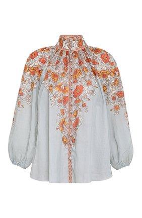 Женская блузка ZIMMERMANN серо-голубого цвета, арт. 2652TAND/   Фото 1 (Стили: Бохо; Материал внешний: Растительное волокно; Принт: С принтом; Рукава: Длинные; Женское Кросс-КТ: Блуза-одежда)