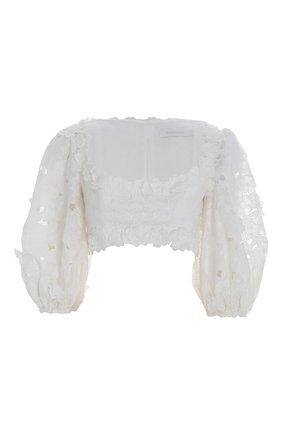 Женский топ ZIMMERMANN белого цвета, арт. 2839TLOL/   Фото 1 (Стили: Бохо; Материал внешний: Растительное волокно; Длина (для топов): Укороченные; Рукава: 3/4)