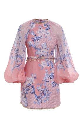 Женское льняное платье ZIMMERMANN розового цвета, арт. 2880DPOS/   Фото 1 (Стили: Бохо; Женское Кросс-КТ: Платье-одежда, Платье-пляжная одежда; Материал внешний: Лен; Случай: Повседневный)