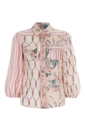 Женская рубашка ZIMMERMANN светло-розового цвета, арт. 2955TMSH/   Фото 1 (Материал внешний: Растительное волокно; Стили: Бохо; Принт: С принтом; Рукава: Длинные; Женское Кросс-КТ: Рубашка-одежда)
