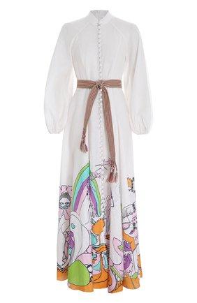 Женское льняное платье ZIMMERMANN белого цвета, арт. 2964DLOL/   Фото 1 (Стили: Бохо; Материал внешний: Лен; Женское Кросс-КТ: Платье-одежда, Платье-пляжная одежда; Случай: Повседневный)