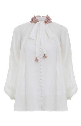 Женская блузка ZIMMERMANN белого цвета, арт. 3221TPOS/   Фото 1 (Материал внешний: Растительное волокно; Стили: Бохо; Принт: Без принта; Рукава: Длинные; Женское Кросс-КТ: Блуза-одежда)