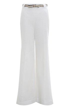 Женские льняные брюки ZIMMERMANN белого цвета, арт. 3233PPOS/   Фото 1 (Стили: Бохо; Материал внешний: Лен; Женское Кросс-КТ: Брюки-одежда; Длина (брюки, джинсы): Удлиненные; Силуэт Ж (брюки и джинсы): Расклешенные)