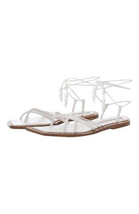 Женские кожаные сандалии ZIMMERMANN белого цвета, арт. 3815RS22/   Фото 1 (Подошва: Плоская)