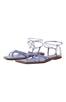 Женские кожаные сандалии ZIMMERMANN сиреневого цвета, арт. 3815RS22/   Фото 1 (Подошва: Плоская)