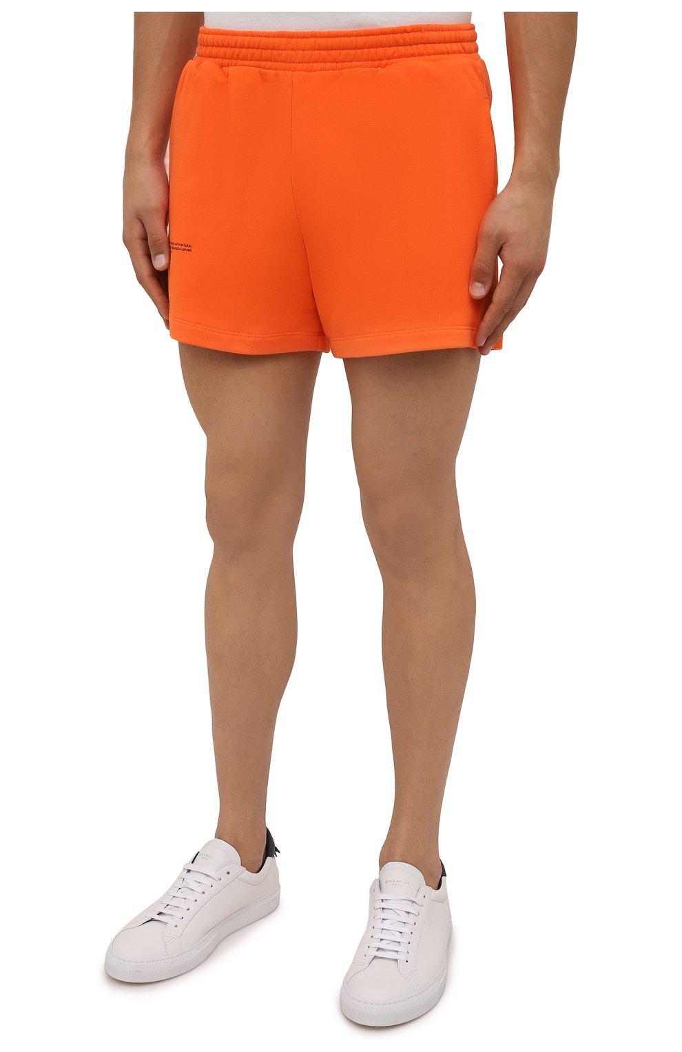 Мужского хлопковые шорты PANGAIA оранжевого цвета, арт. 21FSU11-013-FEM002   Фото 6 (Женское Кросс-КТ: Шорты-одежда, Шорты-спорт; Длина Ж (юбки, платья, шорты): Мини; Стили: Спорт-шик)