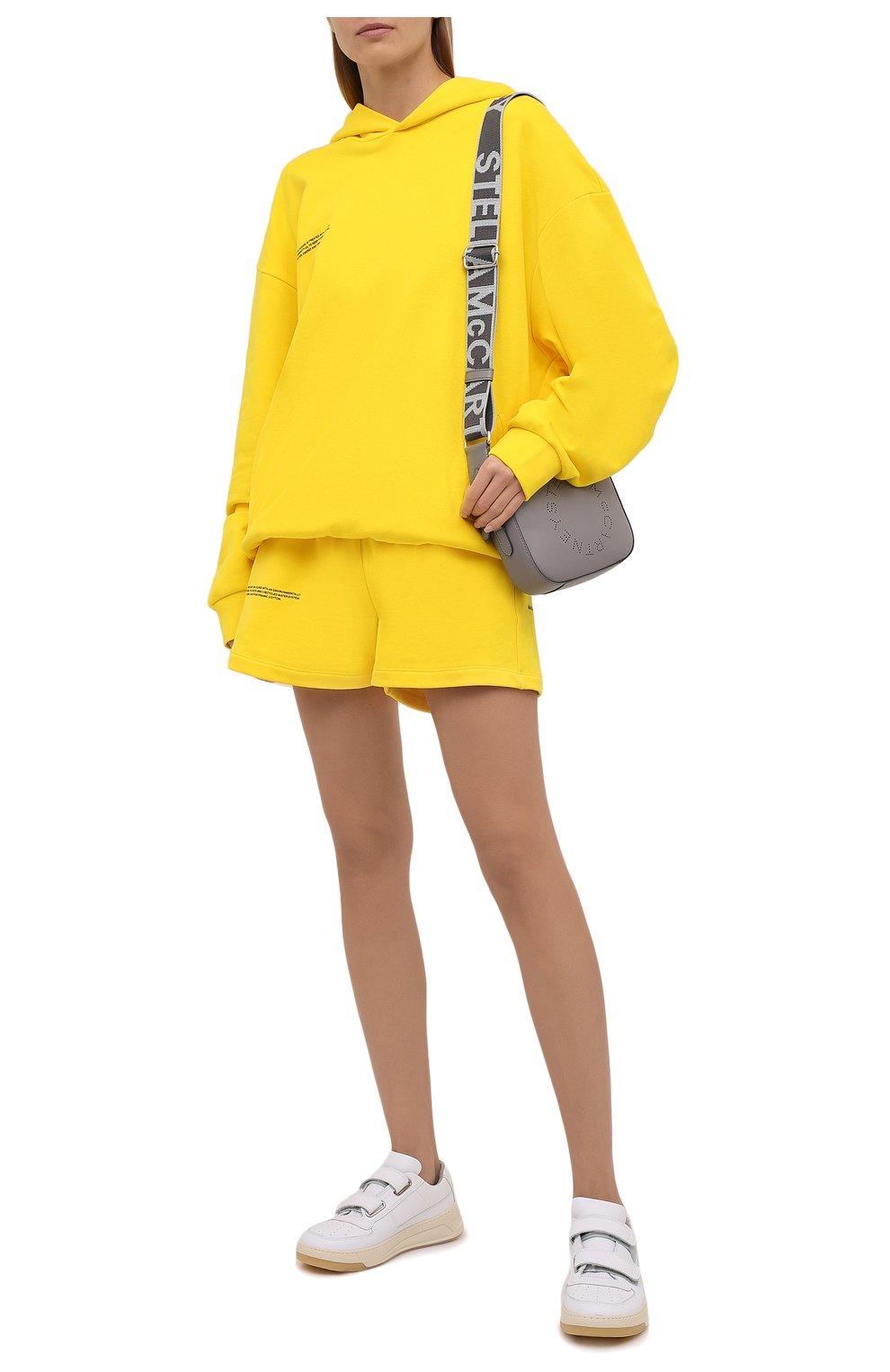 Мужского хлопковые шорты PANGAIA желтого цвета, арт. 20FSU01-014-FEM002   Фото 2 (Женское Кросс-КТ: Шорты-одежда, Шорты-спорт; Длина Ж (юбки, платья, шорты): Мини; Стили: Спорт-шик)