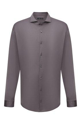 Мужская хлопковая рубашка VAN LAACK темно-серого цвета, арт. M-PER-LSF/180031/3XL | Фото 1 (Материал внешний: Хлопок; Принт: Однотонные; Рукава: Длинные; Случай: Повседневный; Манжеты: На пуговицах; Рубашки М: Regular Fit; Воротник: Акула; Стили: Классический)