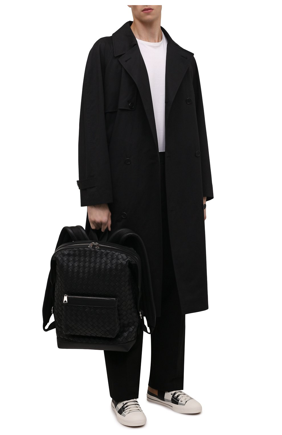 Мужские кожаные кеды BURBERRY белого цвета, арт. 8043606 | Фото 2 (Материал внутренний: Натуральная кожа, Текстиль; Подошва: Плоская)