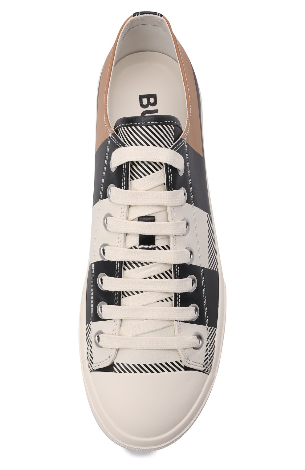 Мужские кожаные кеды BURBERRY белого цвета, арт. 8043606 | Фото 5 (Материал внутренний: Натуральная кожа, Текстиль; Подошва: Плоская)
