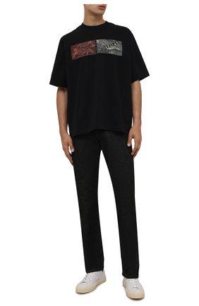 Мужская хлопковая футболка KENZO черного цвета, арт. FB65TS0854SB   Фото 2 (Материал внешний: Хлопок; Длина (для топов): Стандартные; Рукава: Короткие; Принт: С принтом; Стили: Гранж)