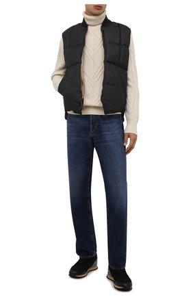 Мужской утепленный жилет RRL темно-синего цвета, арт. 782840778 | Фото 2 (Материал внешний: Хлопок; Материал подклада: Хлопок; Длина (верхняя одежда): Короткие; Кросс-КТ: Куртка, Пуховик; Стили: Кэжуэл)
