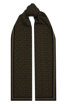 Мужской шерстяной шарф BALMAIN хаки цвета, арт. WH0XG000/K036   Фото 1 (Материал: Шерсть; Кросс-КТ: шерсть)