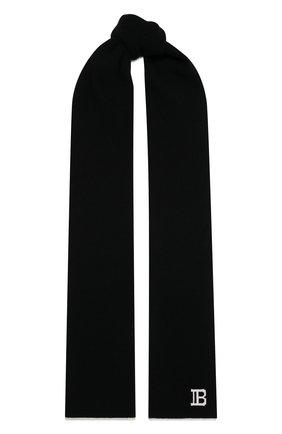 Мужской шарф из шерсти и кашемира BALMAIN черного цвета, арт. WH0XG010/K065   Фото 1 (Материал: Кашемир, Шерсть; Кросс-КТ: шерсть, кашемир)